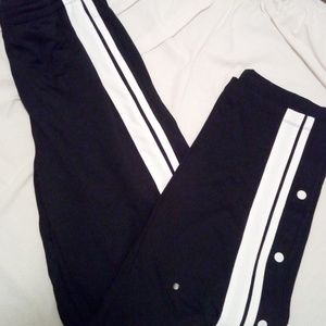 PINK Track Pants Black and White Stripe Snap Side